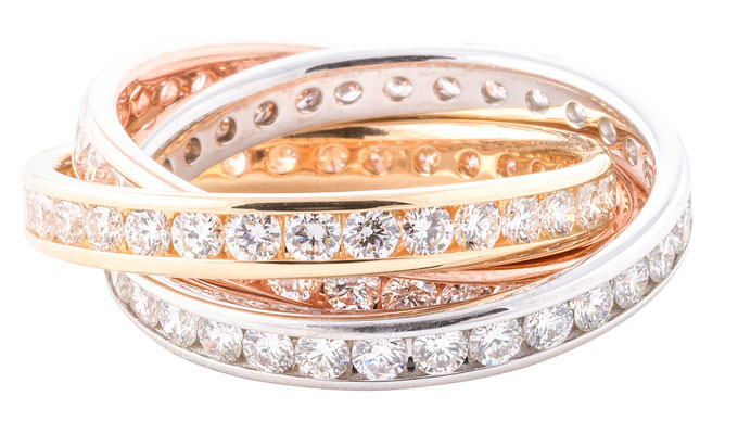 Channel Set Three Band Ring